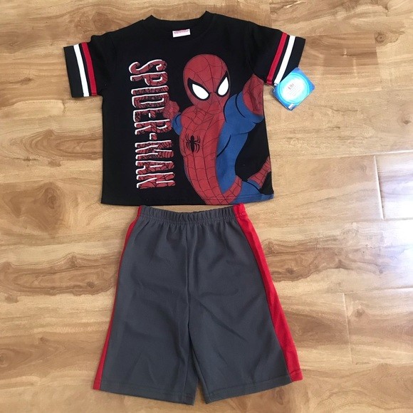 NWT Boy 2PC Outfit Set Red Spiderman Tee Marvel Spider-Man Jersey Short 3T//5T
